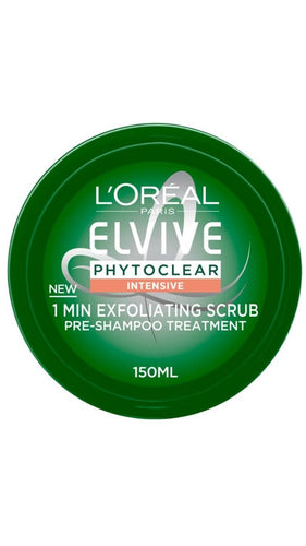 L'Oreal Paris Elvive Phytoclear Intensive 1 Min Exfoliating Scrub Shampoo 150ml  A build-up of impurities can leave the scalp looking and feeling unbalanced   Discover phytoclear exfoliating 1 min scrub for a purifying action. Enriched with pure essential oils