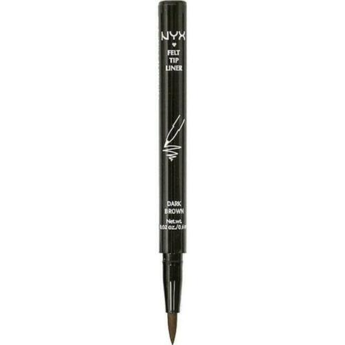 NYX Cosmetics Felt Tip Eyeliner 0.6ml - PEL02 Dark Brown   As easy as pencil & as intense as liquid!  This felt tip liner creates a smudge-proof, budge-proof and waterproof line  It lives up to its title as a 'one-day tattoo'  The eyeliner marker releases the perfect amount of ink