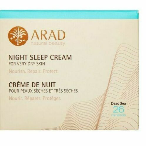 Arad Natural Beauty Night Sleep Cream for Very Dry Skin 50ml  The extra rich Night Sleep Treatment, which contains Dead Sea Minerals, was developed to treat sensitive dry and very dry skin  It is designed to work in synergy with the skin's natural cycle to wake the inter-cellular flow of nutrients to help optimise the conditions it needs 24hrs a day