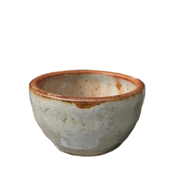 CLAY STONEWARE GLAZED INCENSE BOWL - SHINO