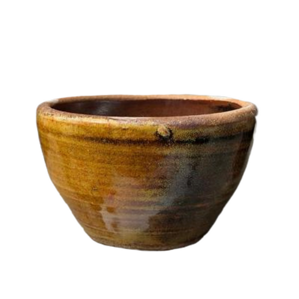 CLAY STONEWARE GLAZED INCENSE BOWL - TENMOKU