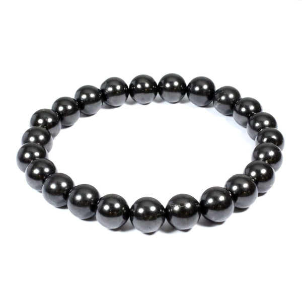 BLACK SHUNGITE BEAD BRACELET 8mm
