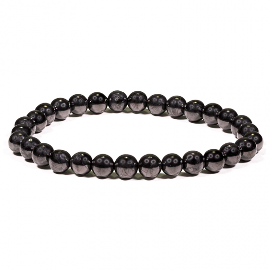 BLACK SHUNGITE BEAD BRACELET 6mm