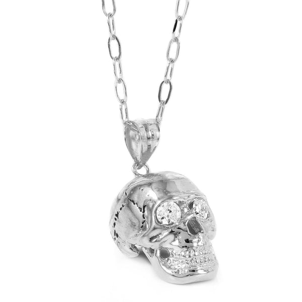 Skull Pendant with Crystal Eyes W H I T E T R A S H C H A R M S