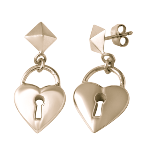 Heart Padlock Earrings W H I T E T R A S H C H A R M S