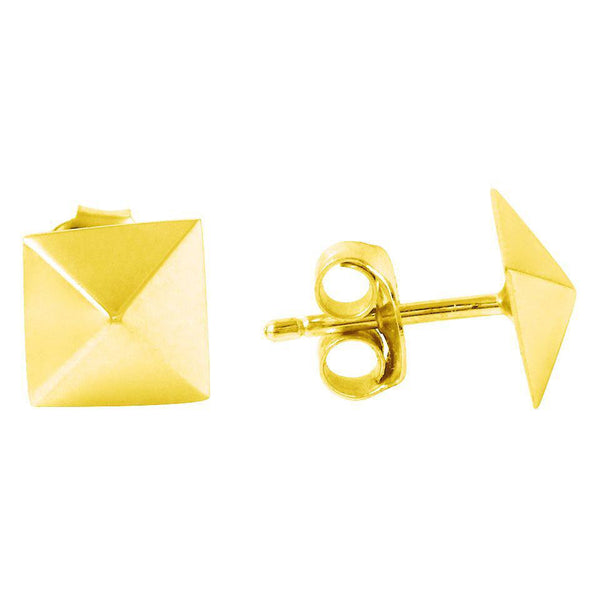 Pyramid Stud Earrings in Gold Vermeil and 14K Gold   White Trash Charm s Style