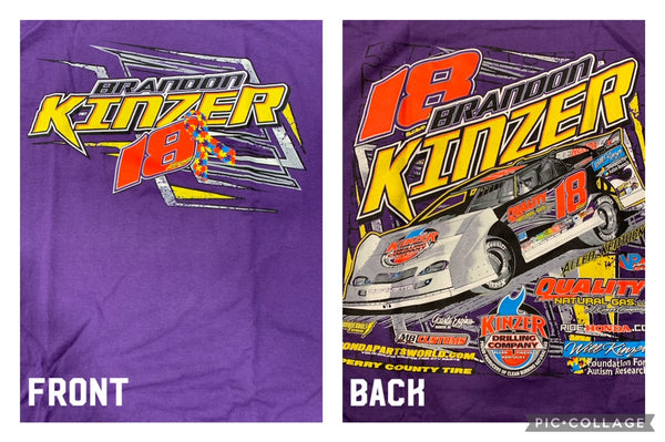 Purple Brandon Kinzer Autism Ribbon T-Shirt