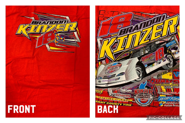 Red Brandon Kinzer Autism Ribbon T-Shirt