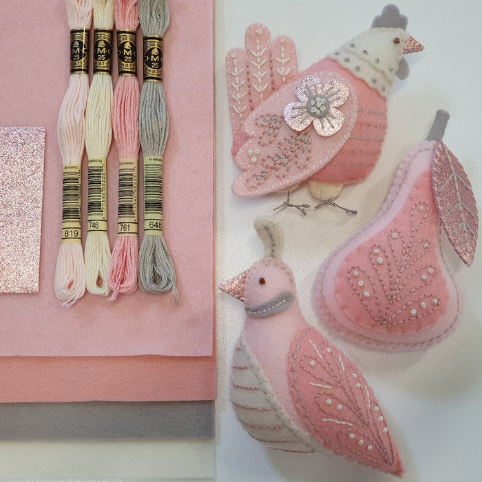 DIY Craft Kit - Peachy Pinks Twelve Days Ornament Series MMMCrafts Sewing Kit