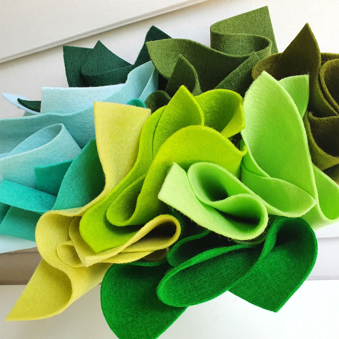 Aqua & Green Shades Wool Felt Bundle