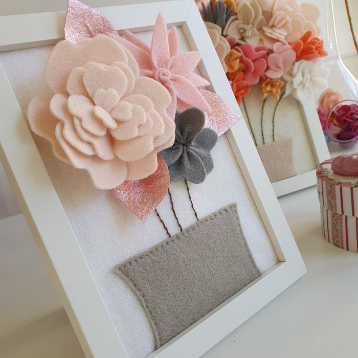 Free PDF Pattern - Felt Flowers in Picture Frame Sewing pattern