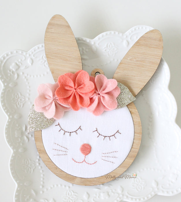 DIY Craft Kit - Embroidery Bunny Wall Hanging Sewing Kit
