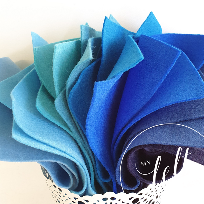 Blue Shades Wool Felt Bundle