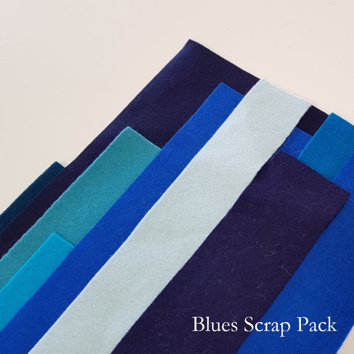 Blue Shades Merino Wool Felt Scrap Pack