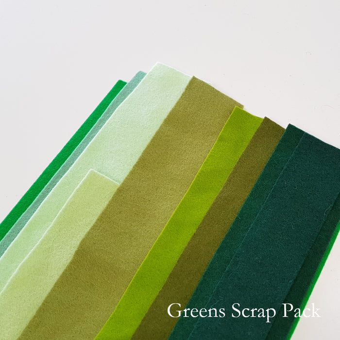 Green Shades Merino Wool Felt Scrap Pack
