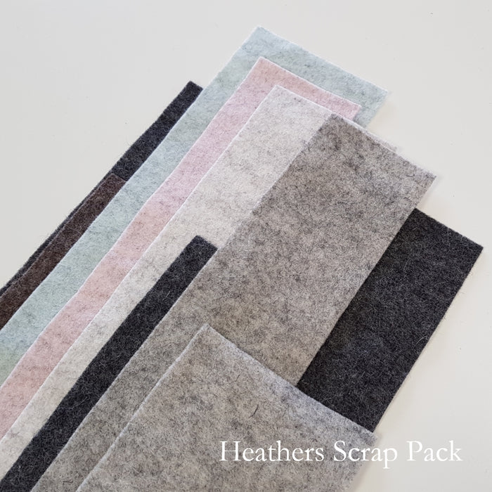 Heather Shades Merino Wool Felt Scrap Pack