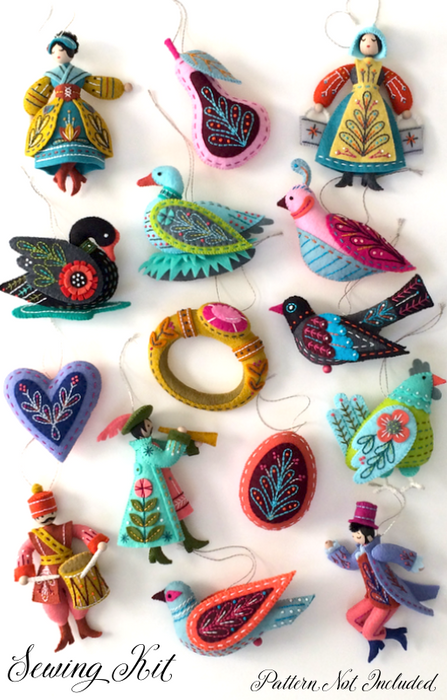 DIY Felt Kit - Wool Felt Christmas Ornaments - Twelve Days Ornament Series MMMCrafts