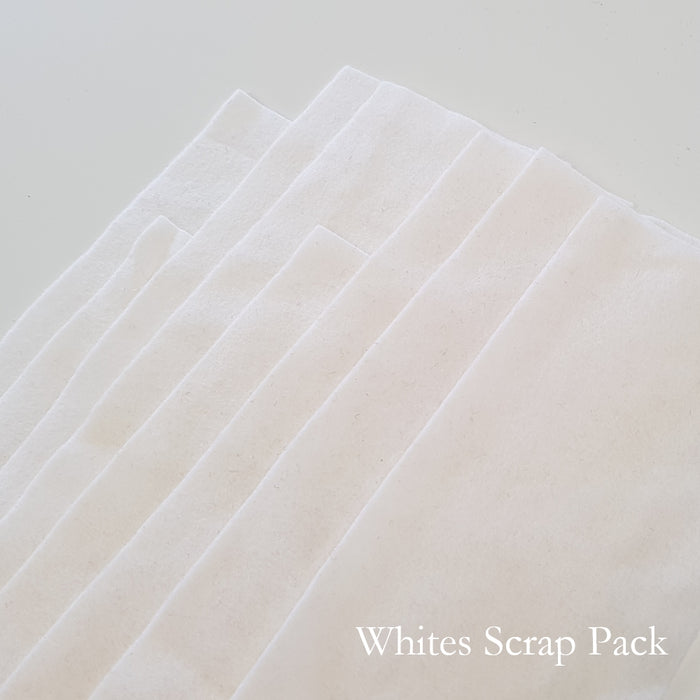 White Shades Merino Wool Felt Scrap Pack