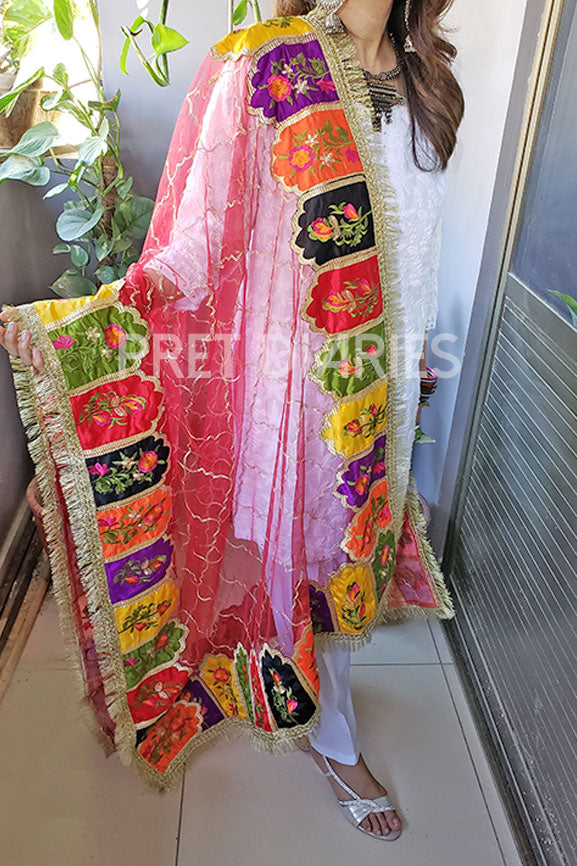 multi embroidered dupatta red  1213