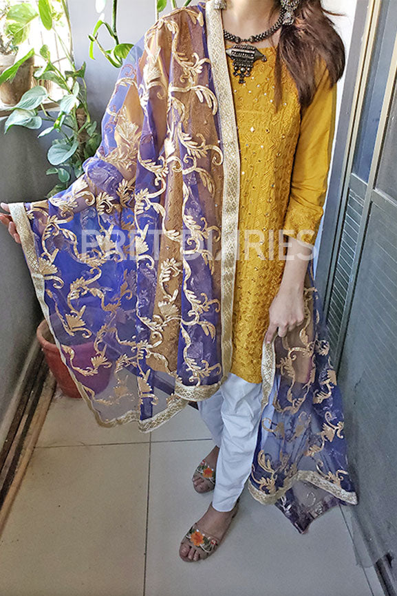 heavy gota work dupatta blue 1227
