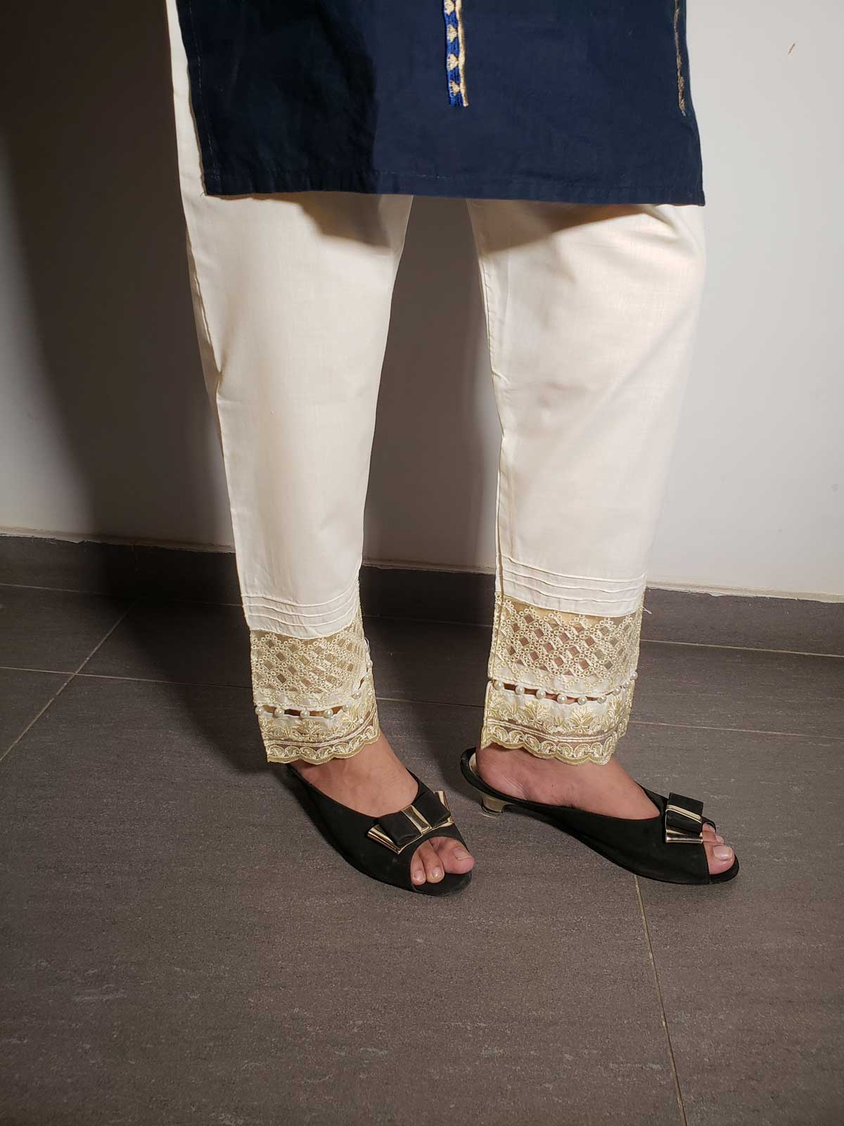 embroidered trouser-2122 offwhite