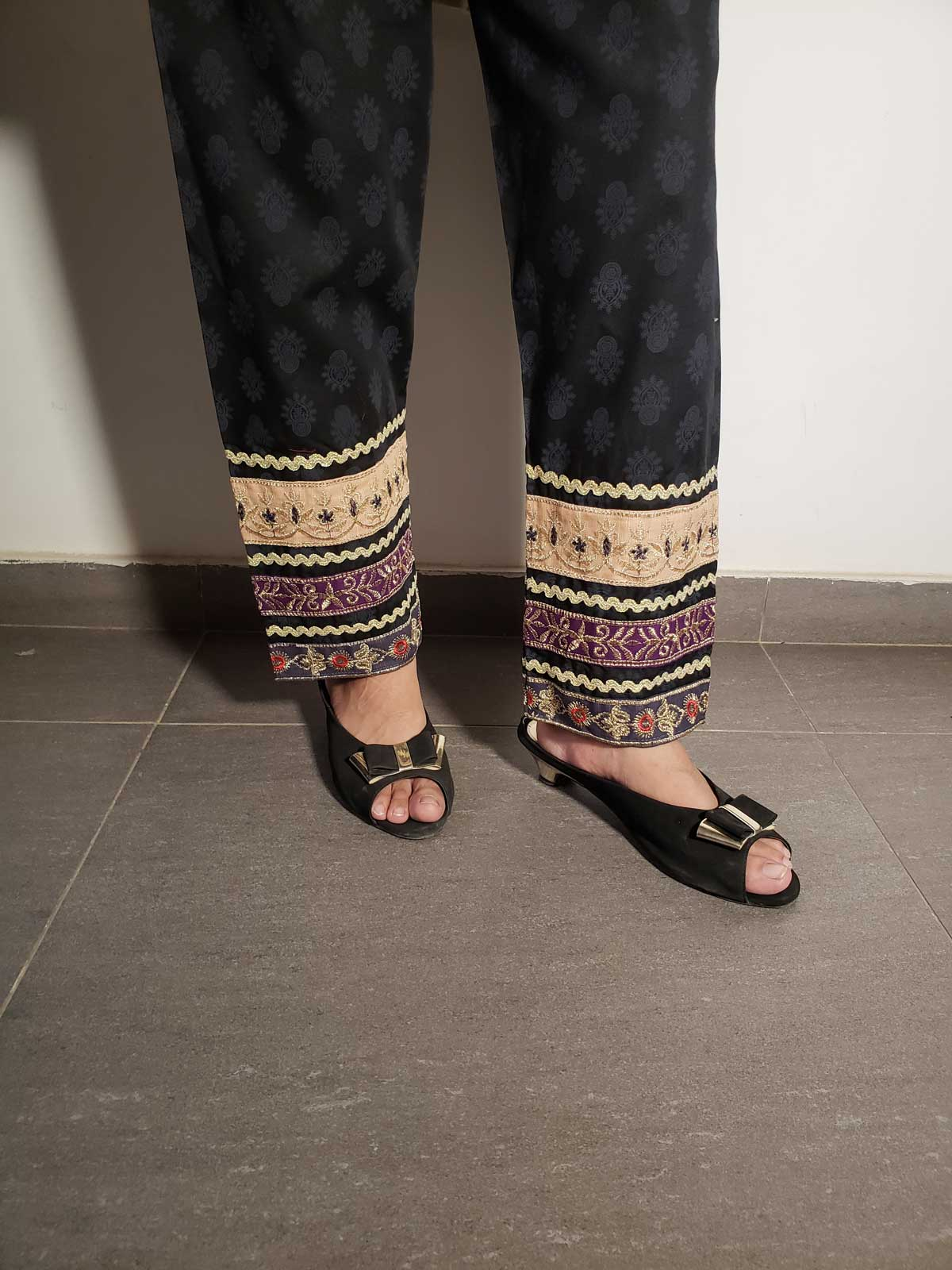 embroidered trouser-2112  black