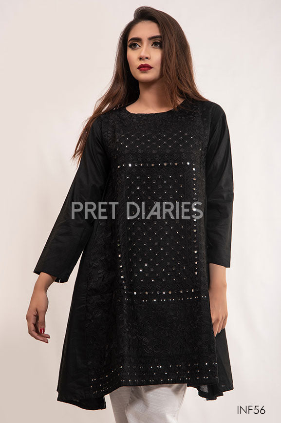 Sheesha Aline Cotton Kurta Black inf56