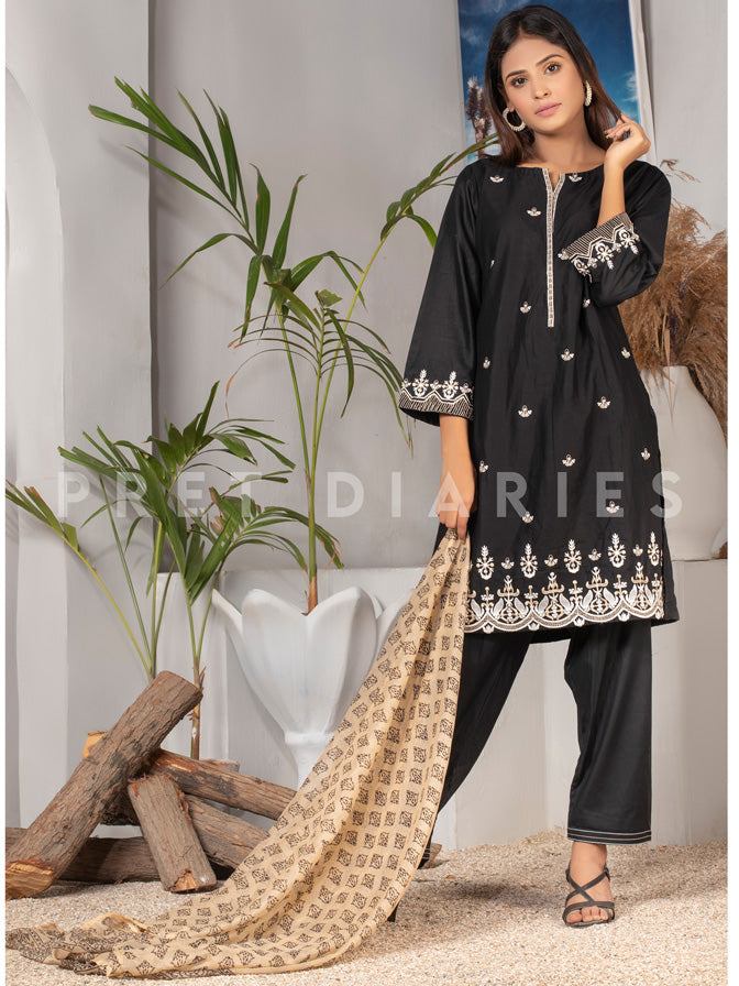 Black Embroidered 3 pc - 52936