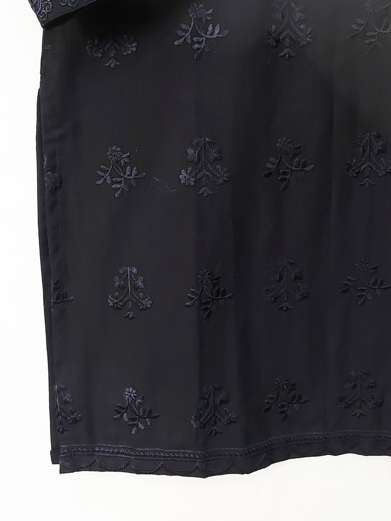 Black Self Embroidered Kurta - 52253