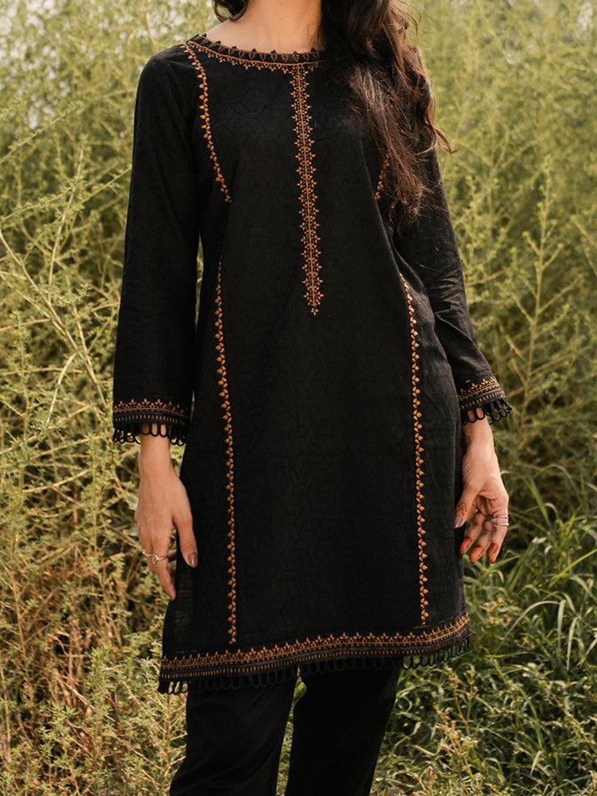 Black Jacquard Cotton Kurta - 52523