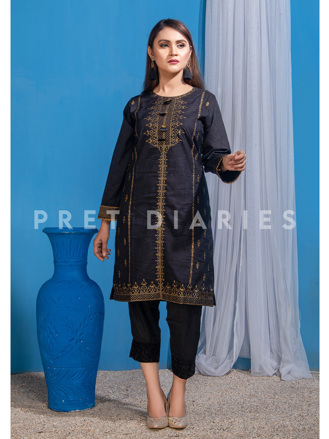 Black Raw Silk Kurta - 52731