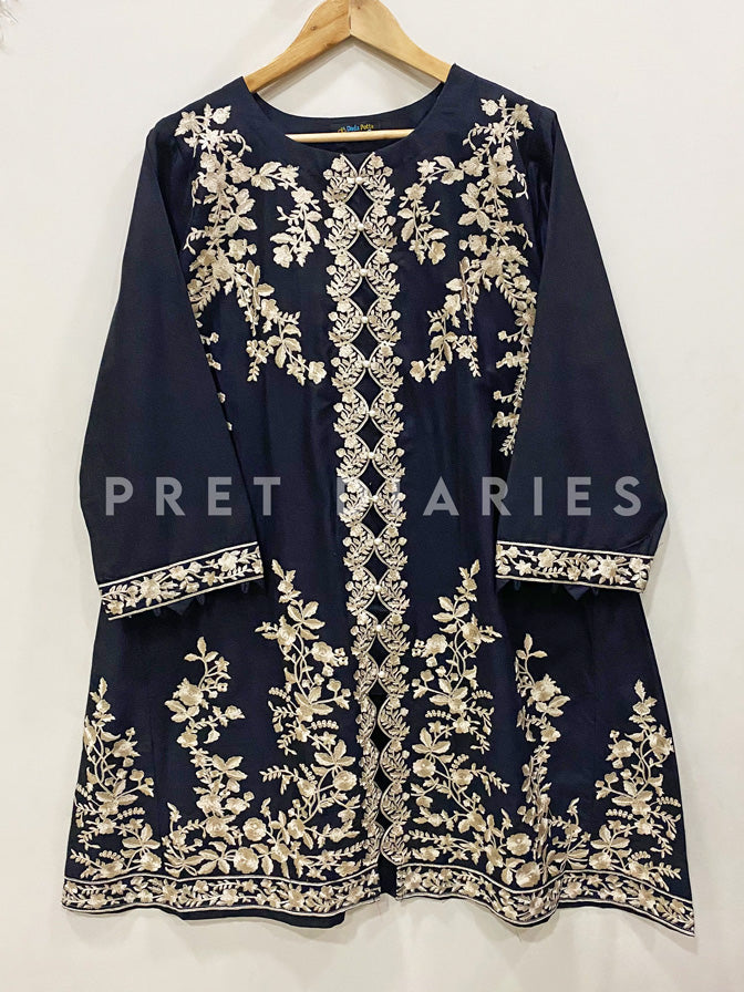 Black Embroidered Frock - 52839