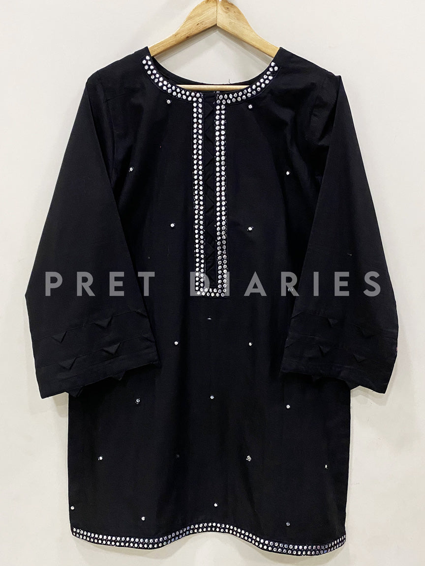 Black Foil Work Kurta - 52897