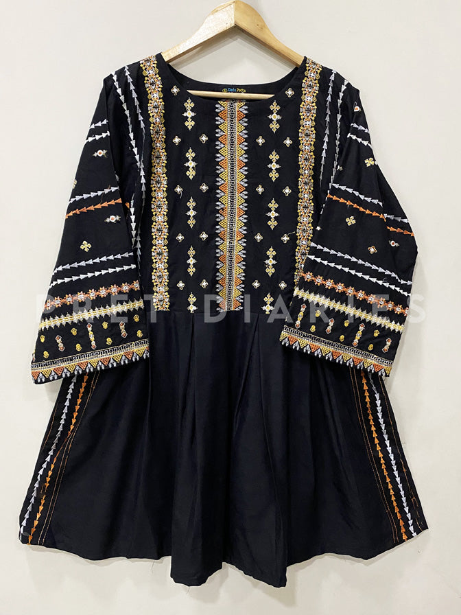 Black Embroidered Frock - 53024