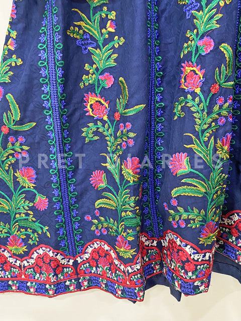 Blue Embroidered Frock- 53013