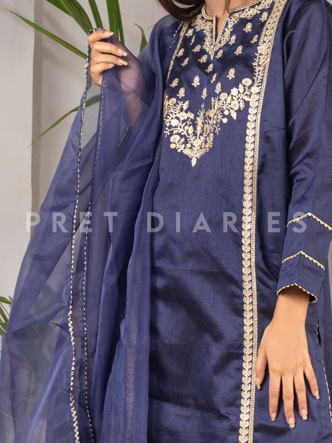Blue Embroidered 3 pc - 52893