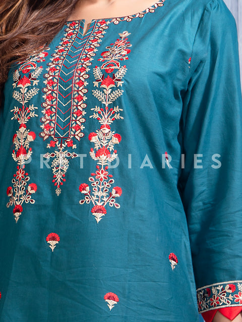 Blue Embroidered Kurta and Trouser - 52810