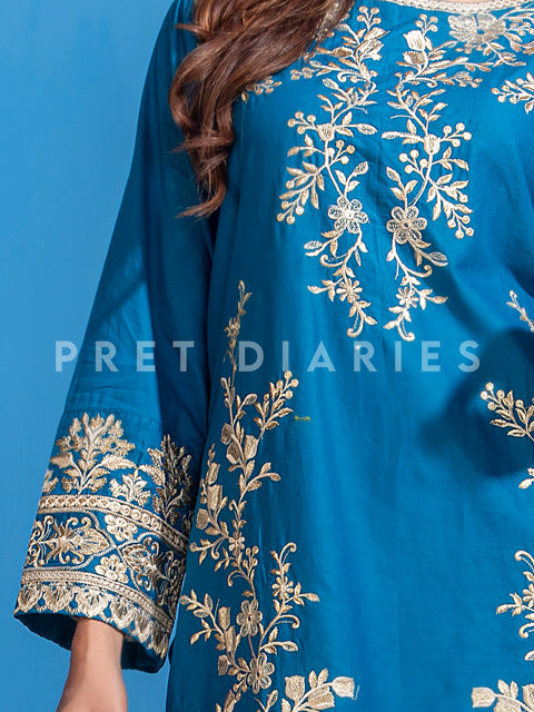 Blue Embroidered Kurta - 52822