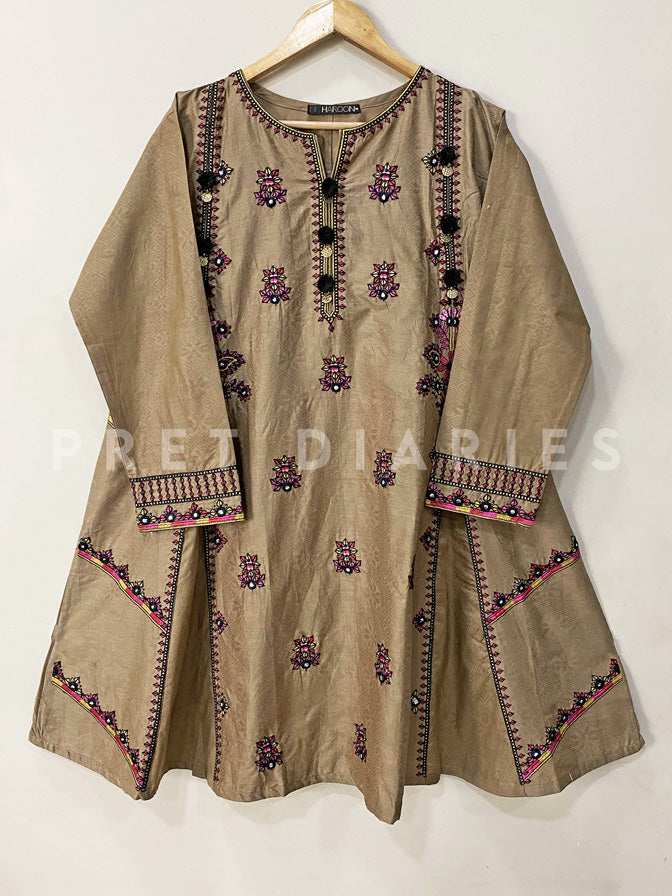Brown Embroidered Frock - 53023