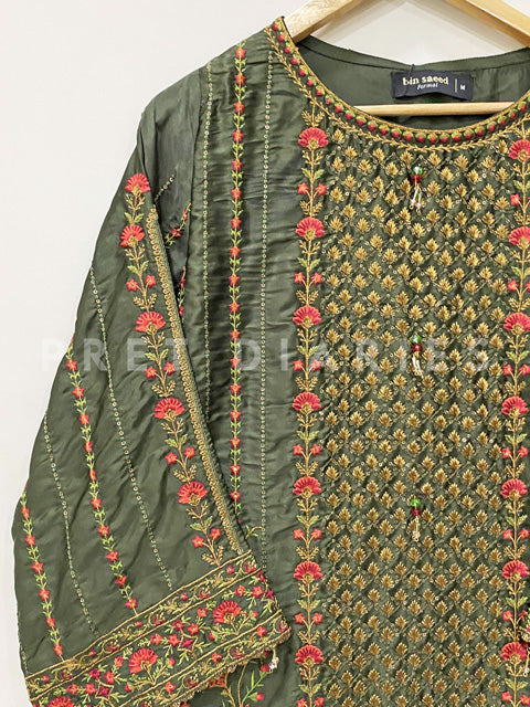 Silk Embroidered Kurta - 52969-17