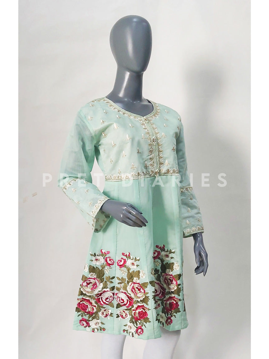 Green Paper Cotton Frock - 52750