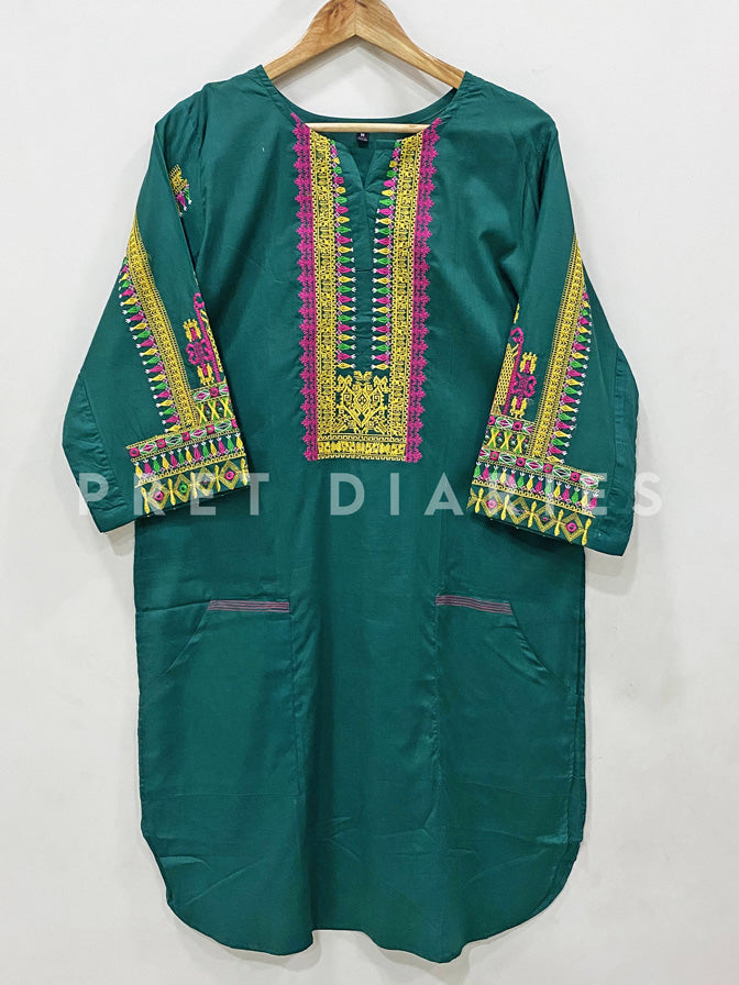 Green Embroidered Kurta - 52898