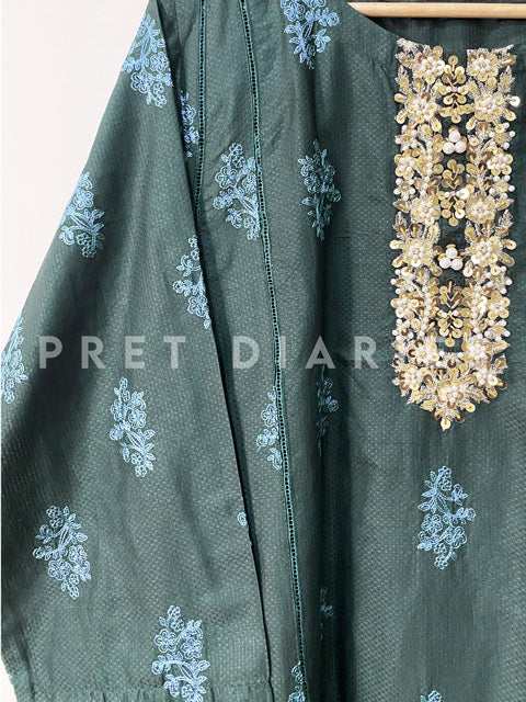 Green Embroidered Frock - 52916