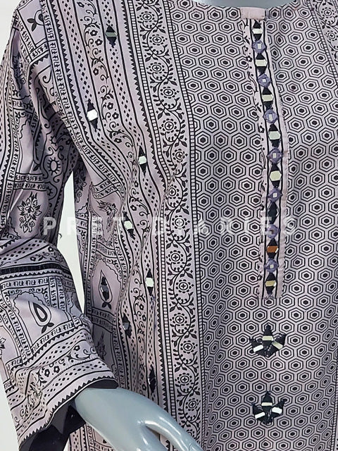 Grey Mirror Work Kurta - 52736