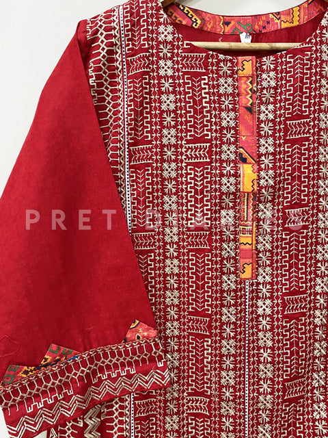 Red Embroidered Kurta - 52951