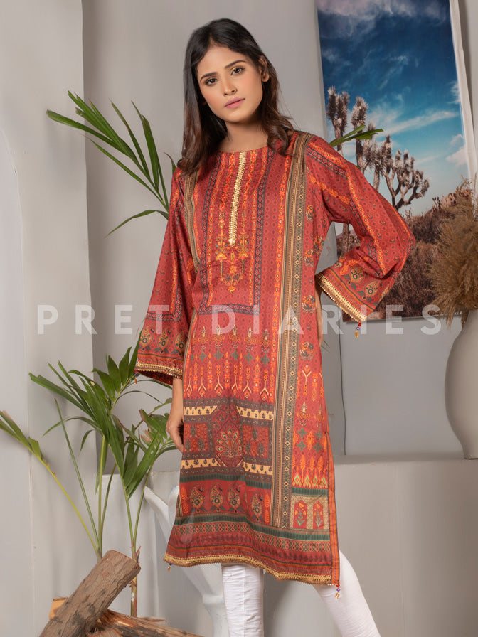 Lawn Embroidered Printed Kurta - 52968-2
