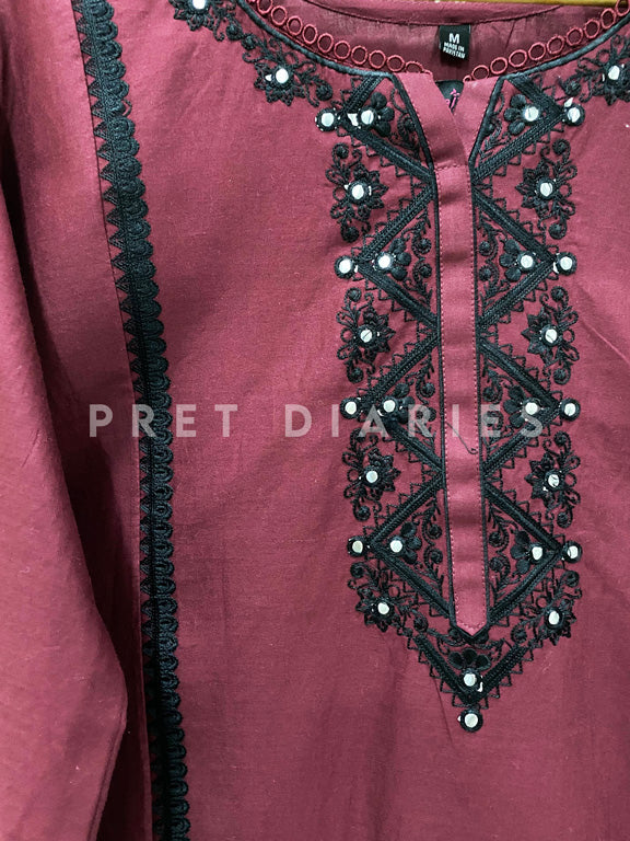 Purple Foil Work Kurta - 52852