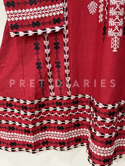 Red Embroidered Frock- 53012