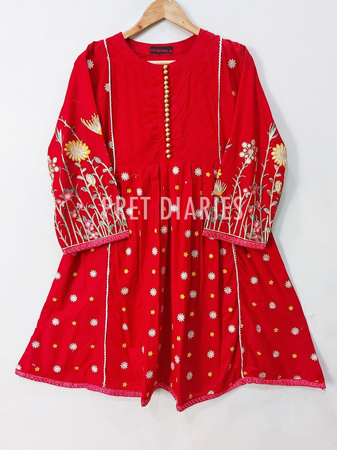 Red Embroidered Frock - 52494