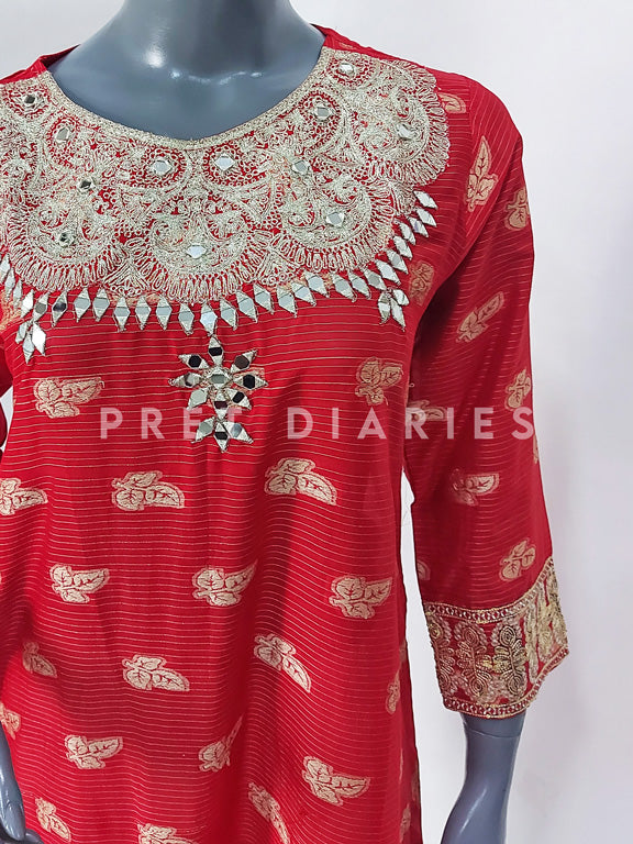 Red Mirror Work Kurta - 52782
